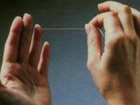 Методика чистки зубов флоссами. Намотка на средний палец