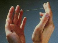 Методика чистки зубов зубной нитью. Намотка нити на палец